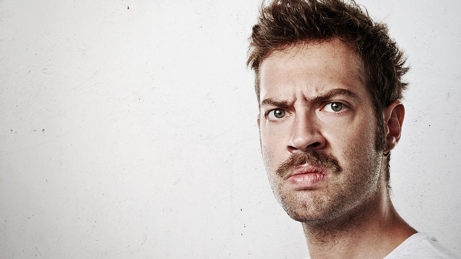 Portrait of an angry man with mustache Photograph by Pinkypills