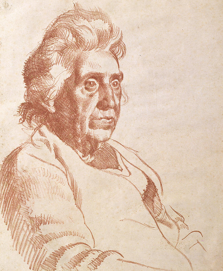 Print Drawing - Portrait Of An Old Lady, 1938 by Osmund Caine