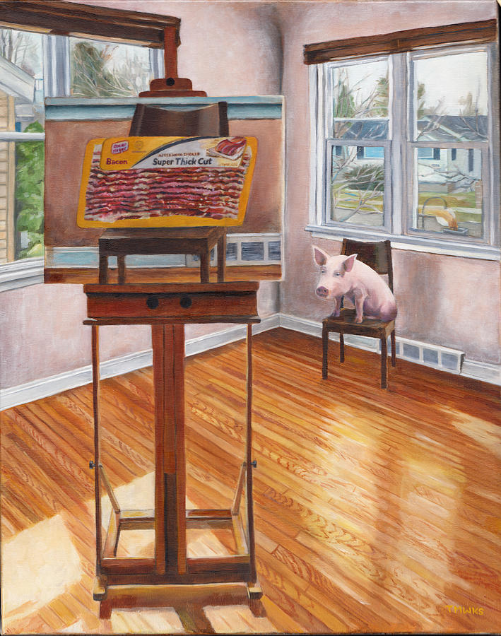 Pig Painting - Portrait Of Bacon by Thomas Weeks