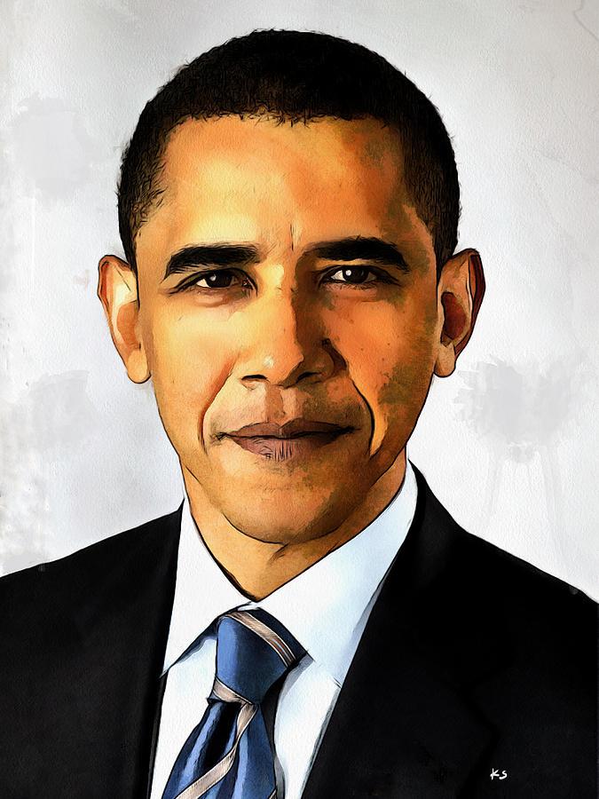 Politician Painting - Portrait Of Barack Obama by Kai Saarto