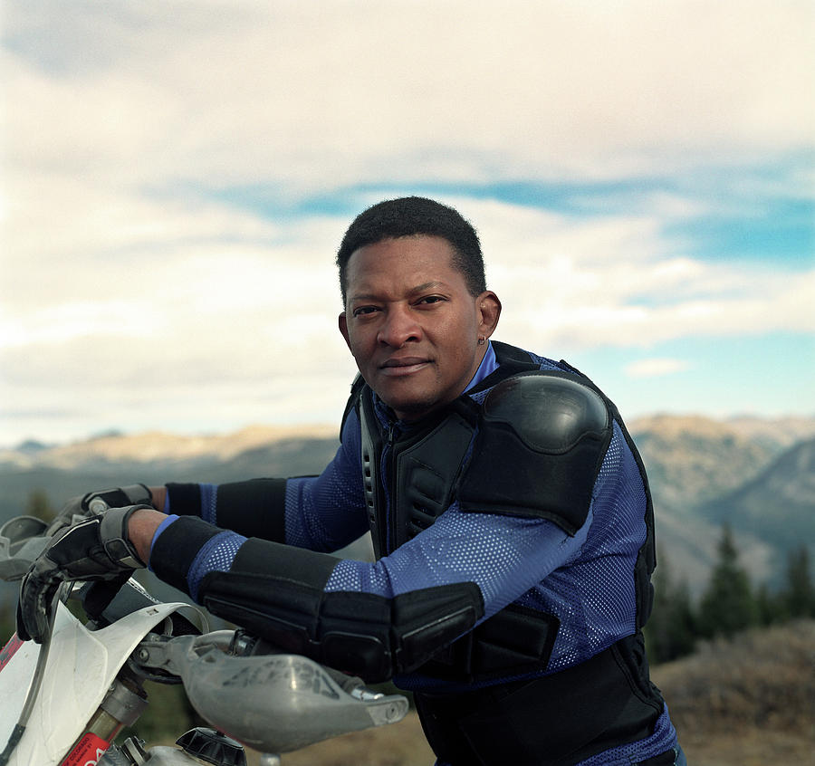 Activity Photograph - Portrait Of Black Motocross Rider by Robert Millman