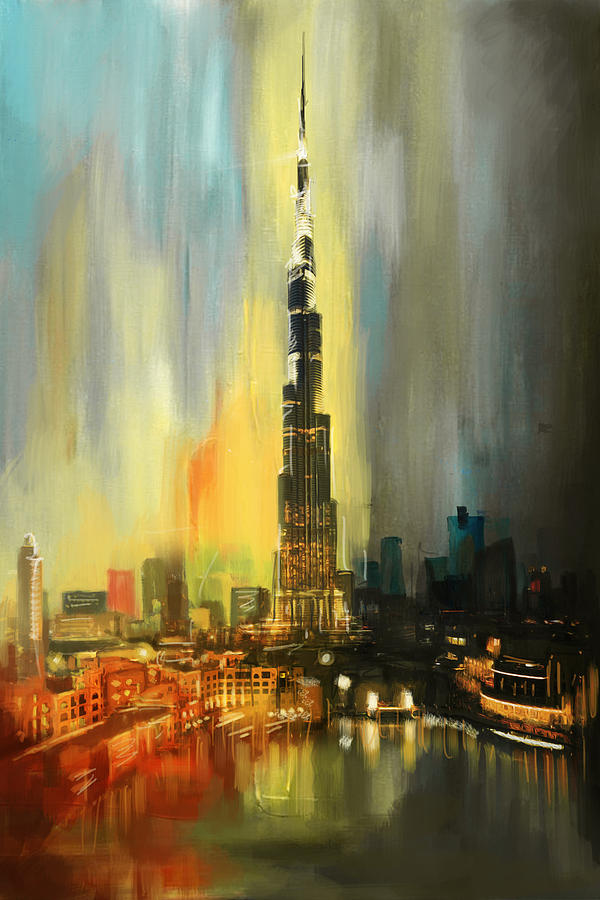 Burj Khalifa Painting - Portrait Of Burj Khalifa by Corporate Art Task Force