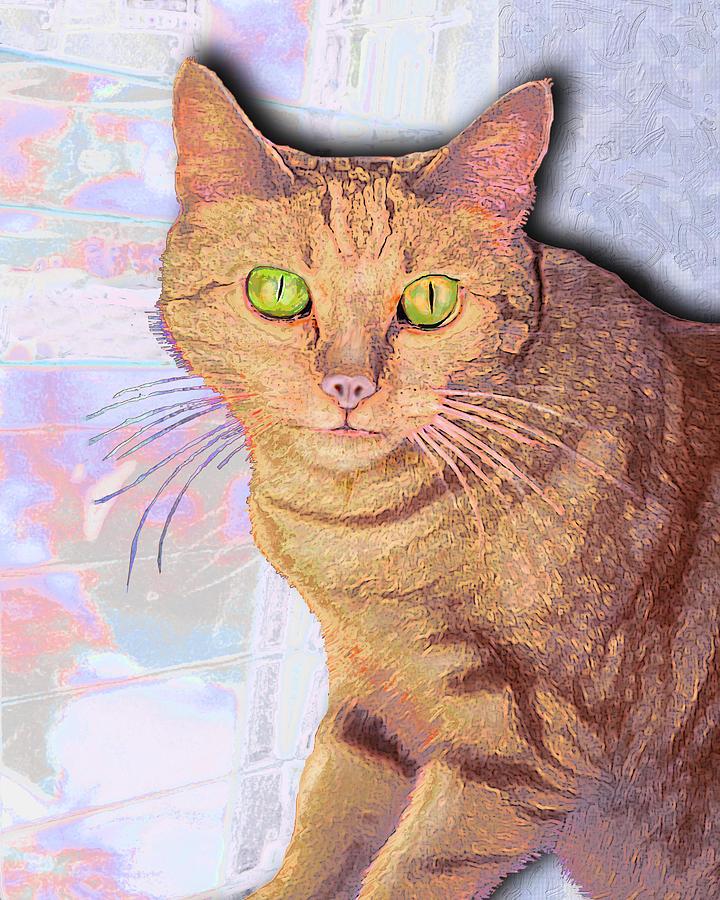 Cat Digital Art - Portrait Of Buster I by Alice Ramirez