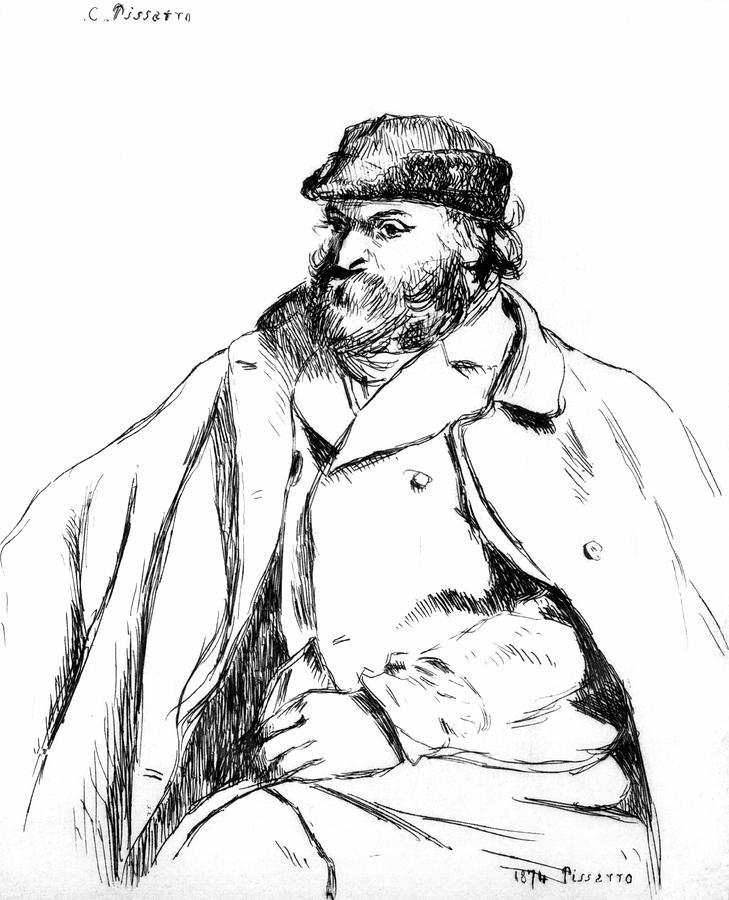Male Drawing - Portrait Of Cezanne, 1874 by Camille Pissarro