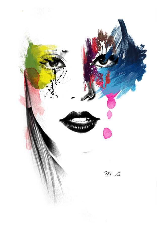 Lady Gaga  Painting - Portrait Of Colors   by Mark Ashkenazi