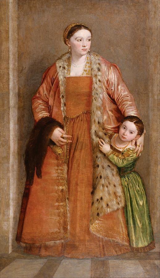 Baltimore Painting - Portrait Of Countess Livia Da Porto Thiene And Her Daughter Deidamia by Paolo Veronese