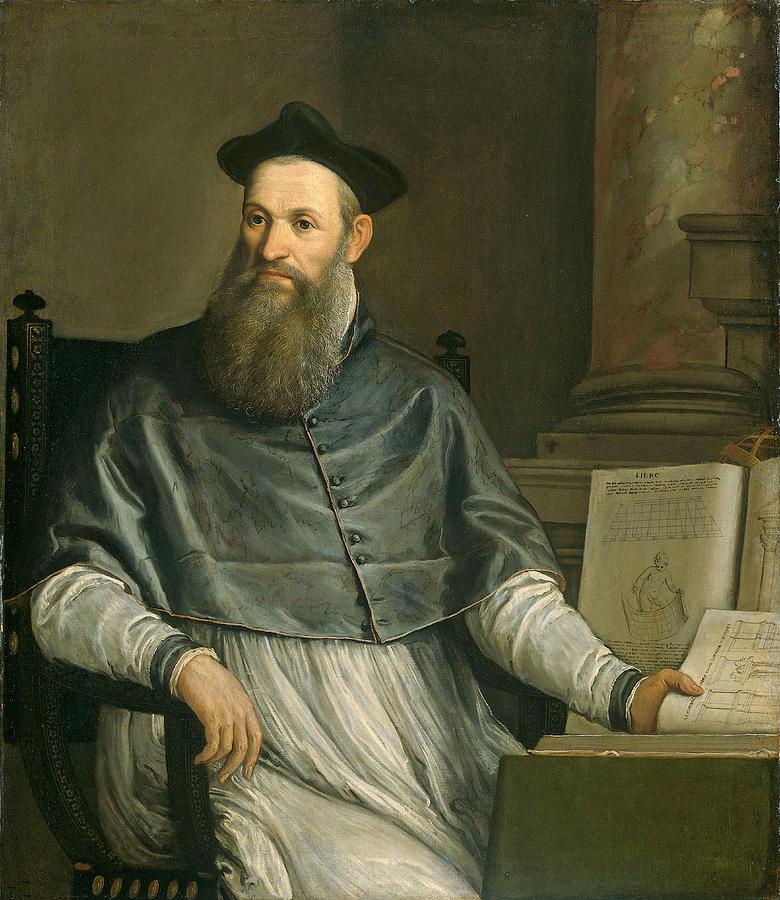 Male; Architect; Designer; Sketch Books; Theologian; Translator; Vitruvius Painting - Portrait Of Daniele Barbaro by Paolo Caliari Veronese