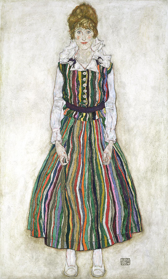 Female Painting - Portrait Of Edith Schiele, The Artists by Egon Schiele