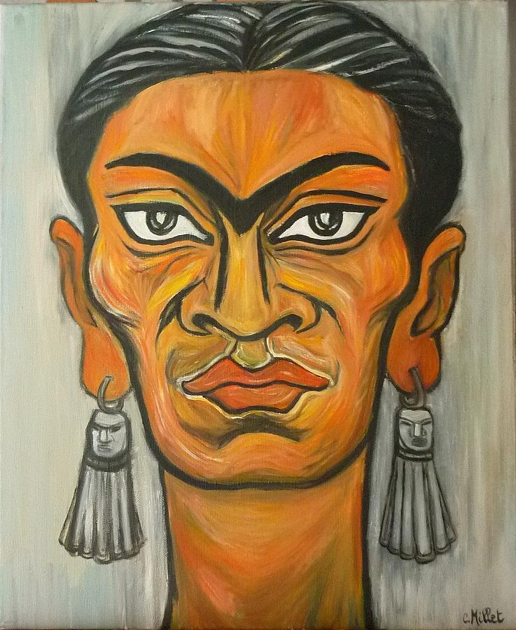 Portrait Painting - Portrait Of Frida Kahlo With Indigenous Earrings by Cindy MILLET