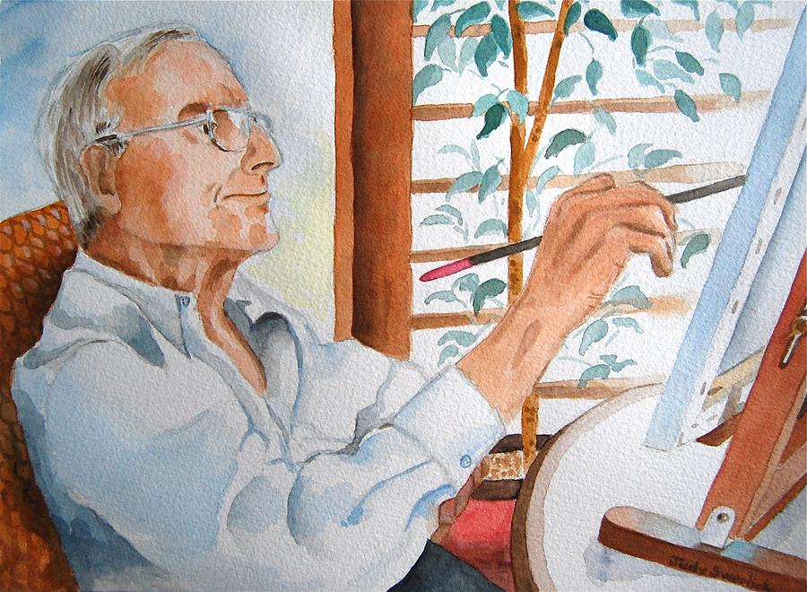 Portrait Painting - Portrait of Gerald Goldstein by Judy Swerlick