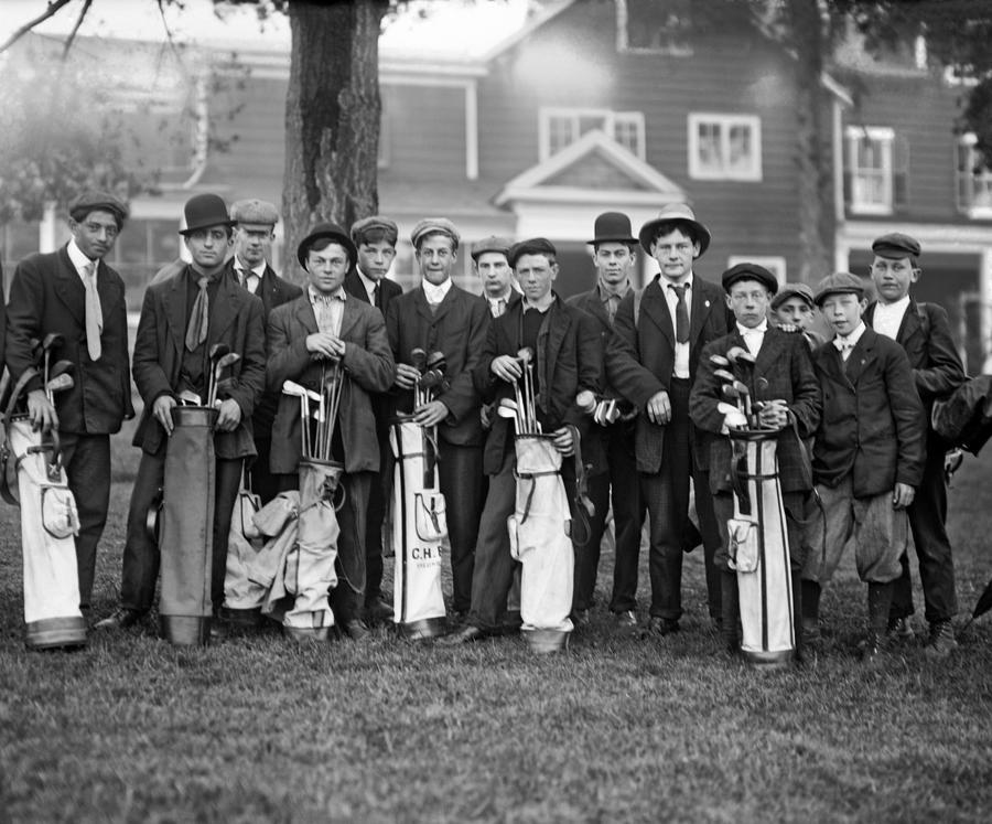 1890s Photograph - Portrait Of Golf Caddies by Underwood Archives
