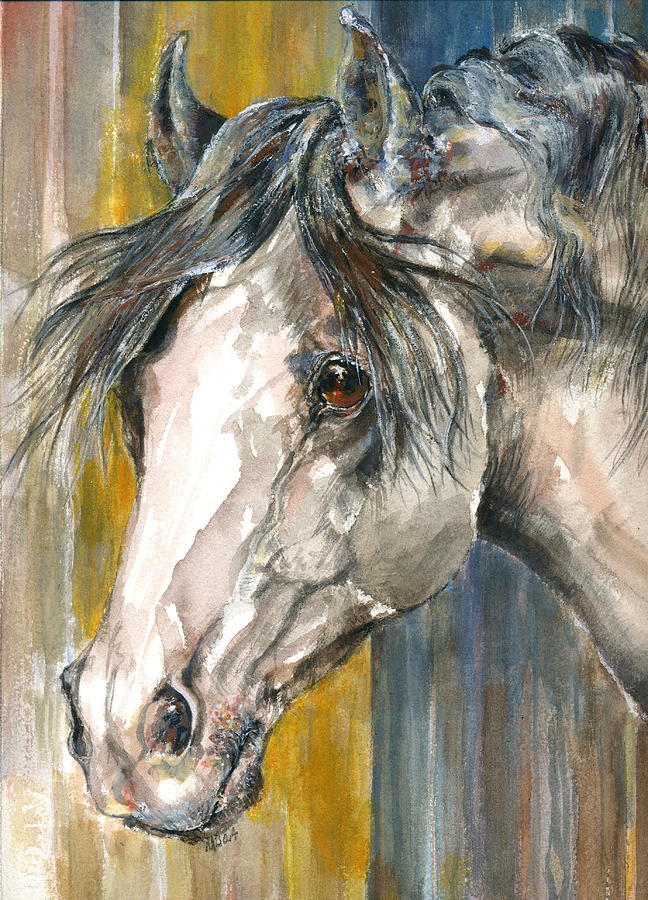 Gray Horse Painting - Portrait Of Gray by Mary Armstrong