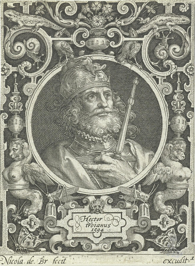 Portrait Of Hector Of Troy In Medallion Inside Rectangular by Nicolaes De  Bruyn And Anonymous
