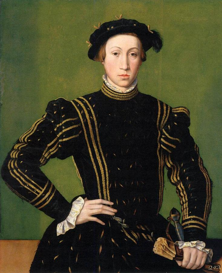 Elizabethan Painting - Portrait Of Maiximilian II by William Scrots