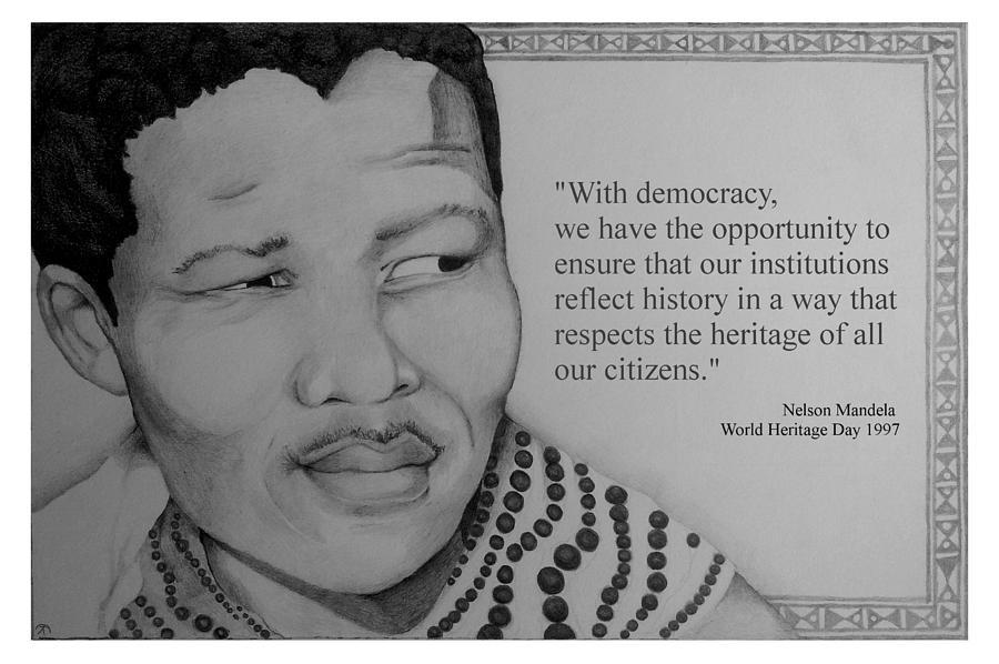 Portrait Of Mandela 1950 Drawing By Corey Habbas