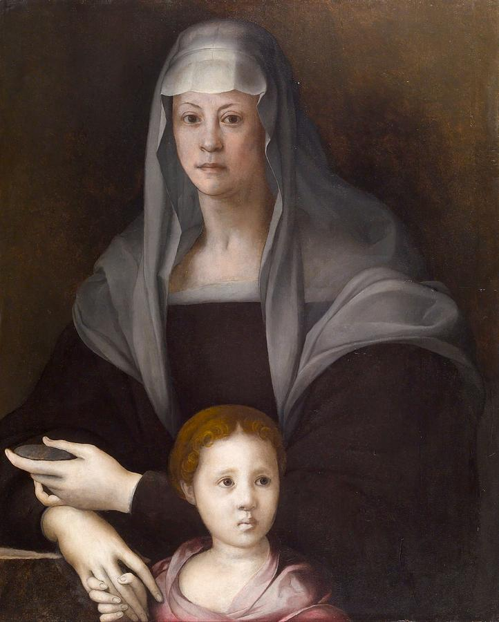 Baltimore Painting - Portrait Of Maria Salviati De Medici With Giulia De Medici by Jacopo Pontormo