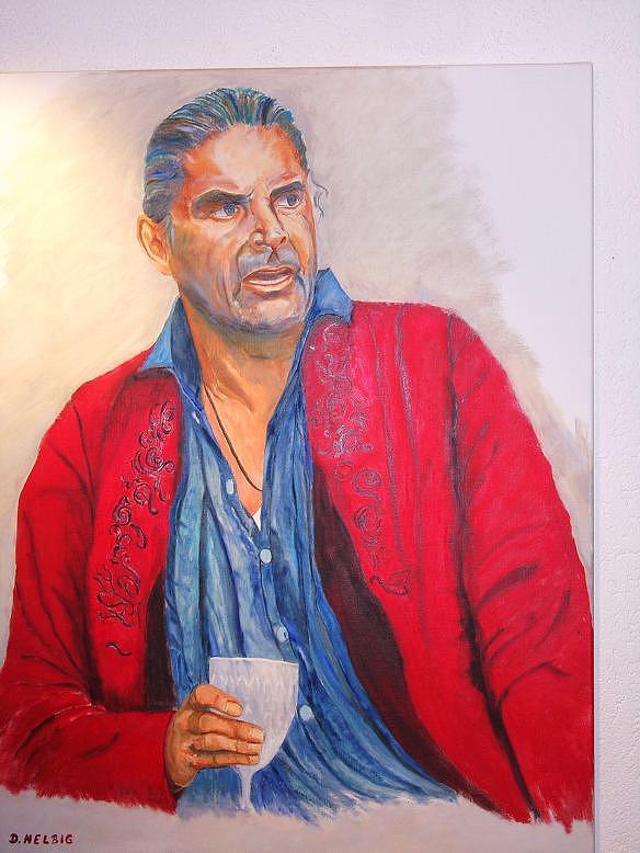 Portrait Painting - Portrait Of Peter Simonischek As Jedermann In Salzburg by Dagmar Helbig