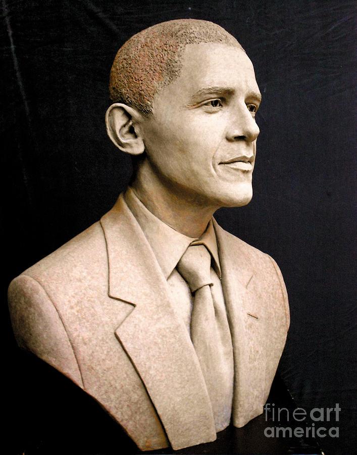 Portrait Of President Barack Obama Sculpture by Tsvetana Yvanova