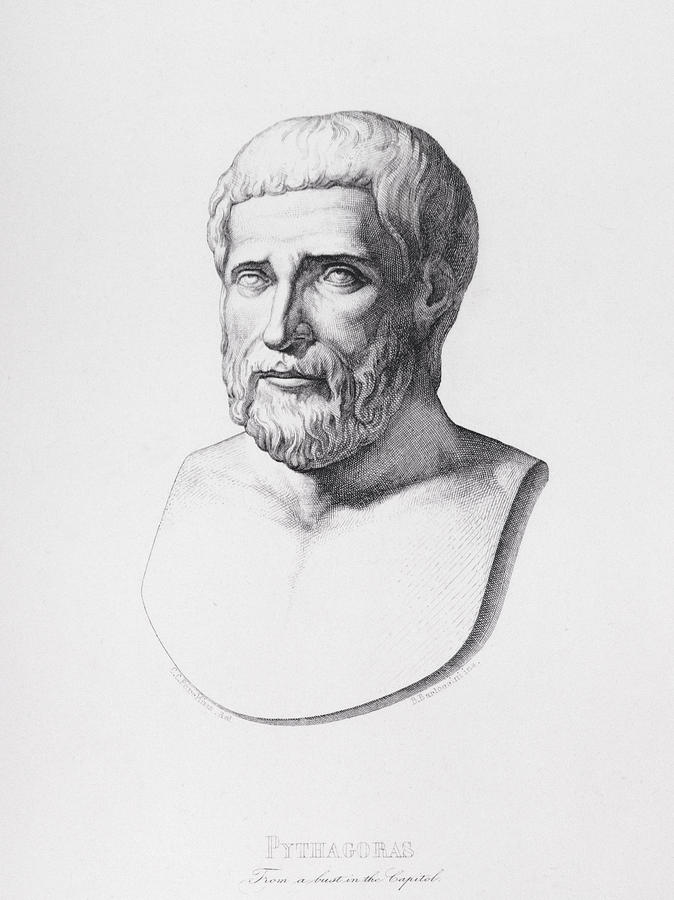 Male Drawing - Portrait Of Pythagoras by CC Perkins