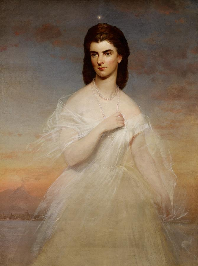 Winterhalter Painting - Portrait Of Queen Maria Sophia Of Naples by Franz Xaver Winterhalter