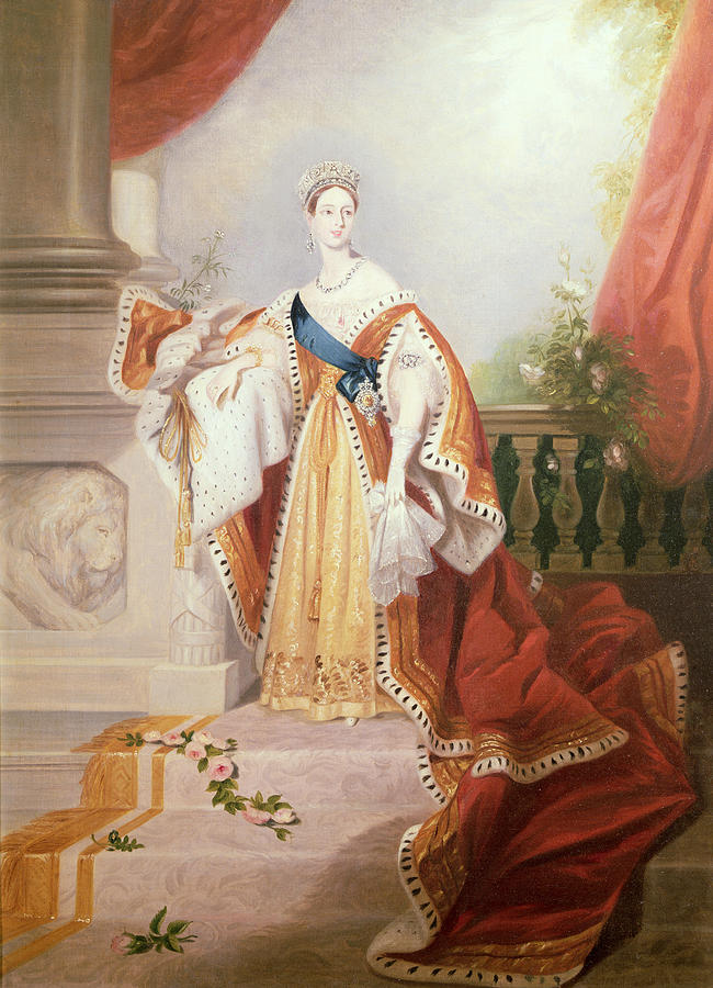 Royal Painting - Portrait Of Queen Victoria by Alfred-Edward Chalon