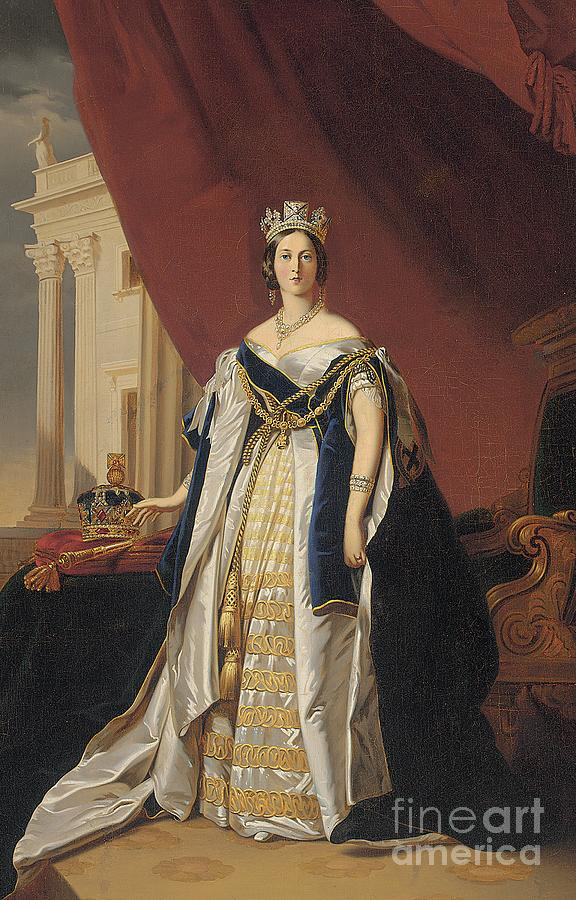 Miniature Painting - Portrait Of Queen Victoria In Coronation Robes by Franz Xaver Winterhalter