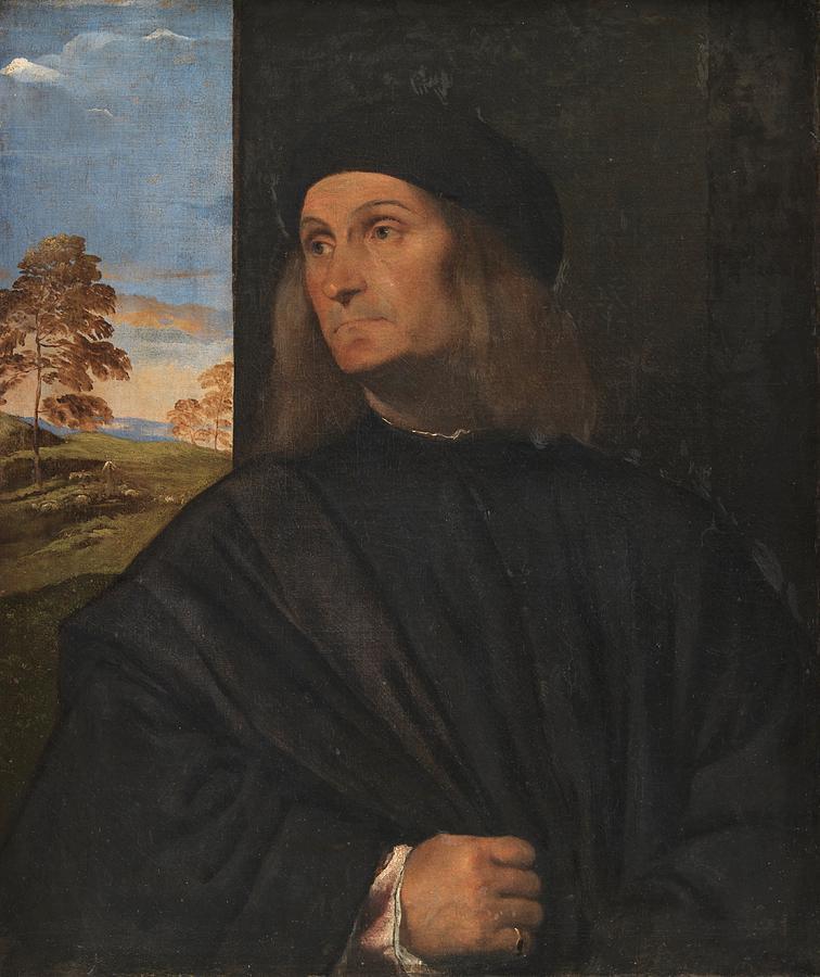 Copenhagen Painting - Portrait Of The Venetian Painter Giovanni Bellini by Titian