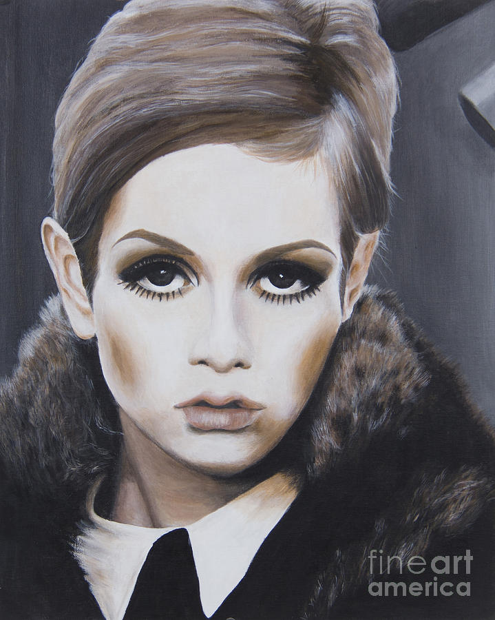 Acrylic Painting - Portrait Of Twiggy by Moe Notsu