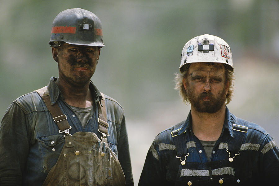 Portrait Of Two Soiled Hard-working Caucasian Coal Miners Photograph by Photodisc