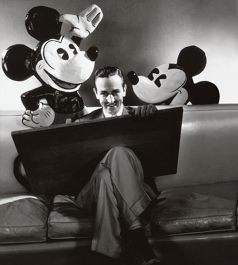 Portrait Of Walt Disney Sitting With Open Cartoon Photograph by Edward Steichen