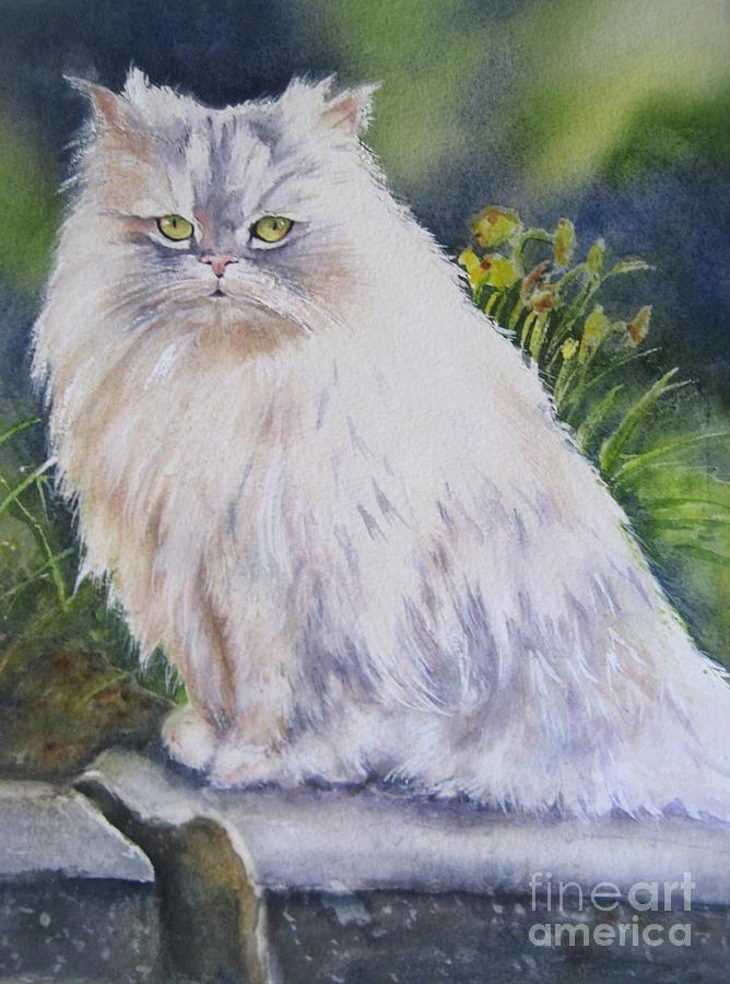 Pet Portrait Painting - Portrait Of White Cat by Patricia Pushaw