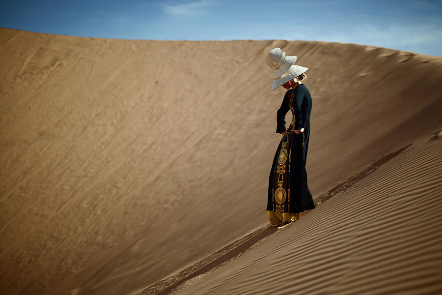 Portrait Of Woman In Desert Photograph by Piskunov