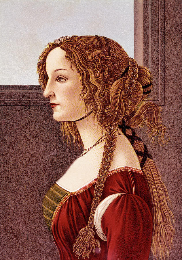 Vertical Painting - Portrait Of Young Woman By Botticelli by Vintage Images