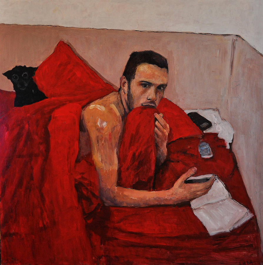 Figurative Painting Painting - Portrait On Bed by Roberto Del Frate