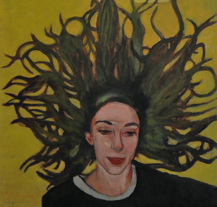 Figurative Painting Painting - Portrait On Yellow by Roberto Del Frate