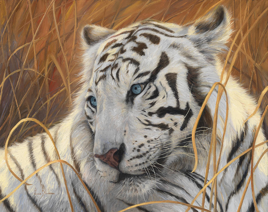 Tiger Painting - Portrait White Tiger 1 by Lucie Bilodeau
