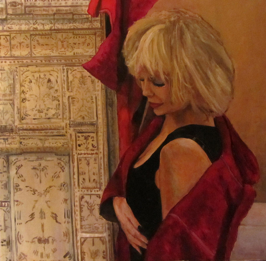 Figurative Painting Painting - Portrait With Screen by Roberto Del Frate