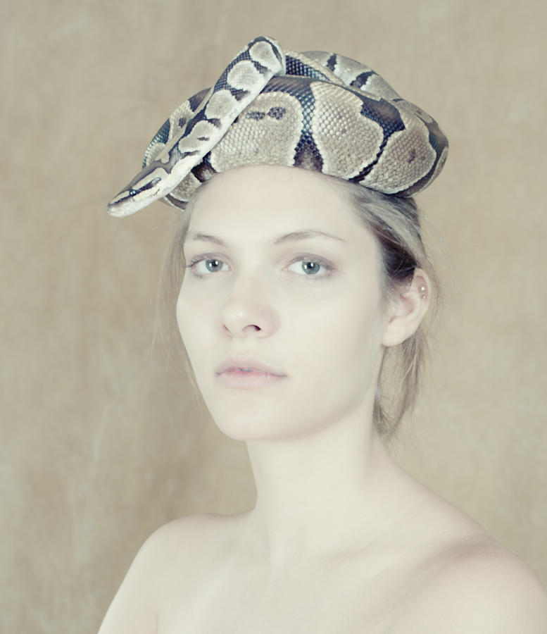 Attractive Photograph - Portrait With The Snake by Zina Zinchik
