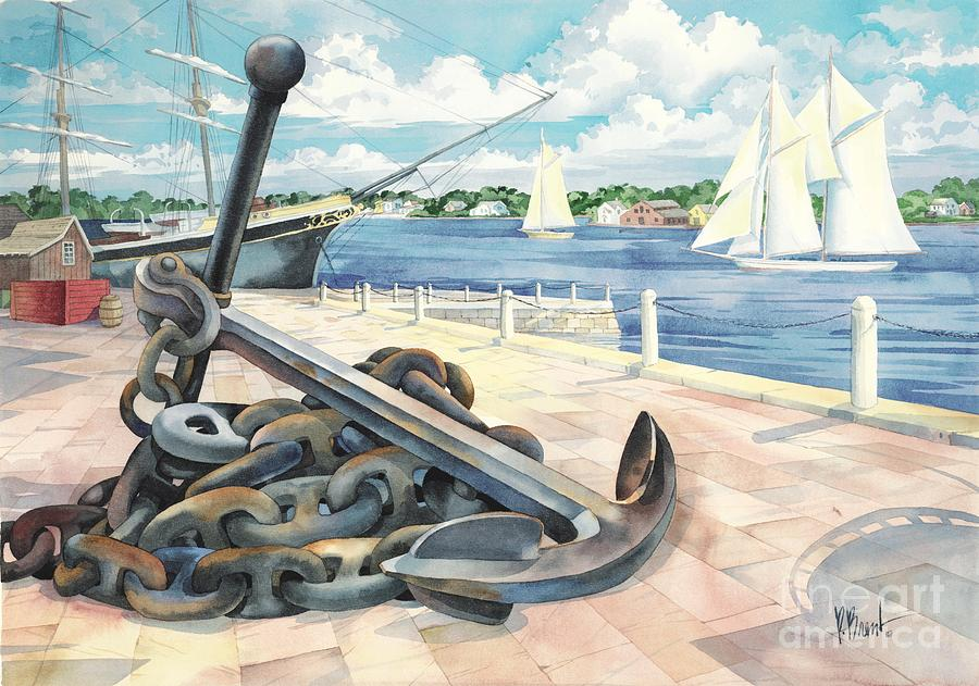 Sailboat Painting - Portside Anchor by Paul Brent