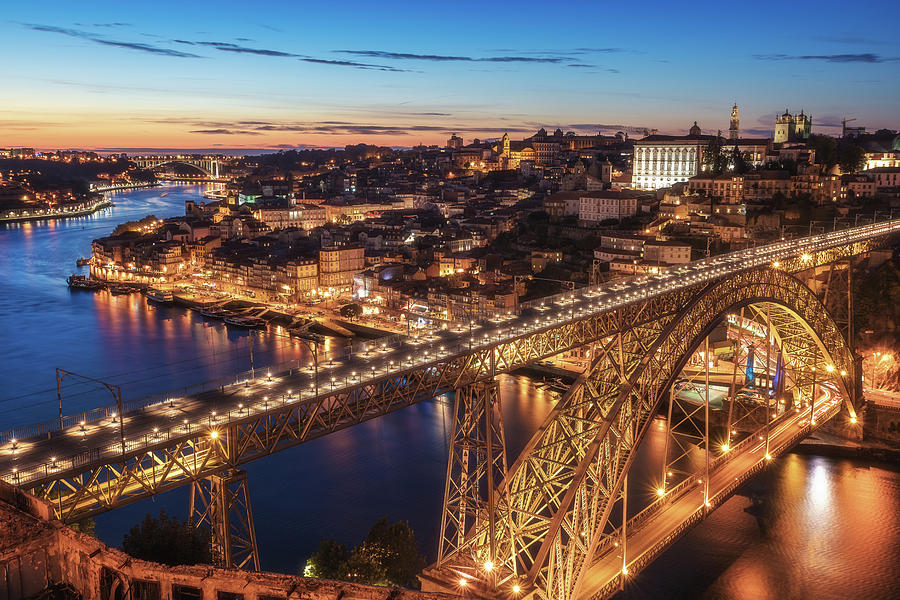 Portugal Photograph - Portugal - Porto Blue Hour by Jean Claude Castor