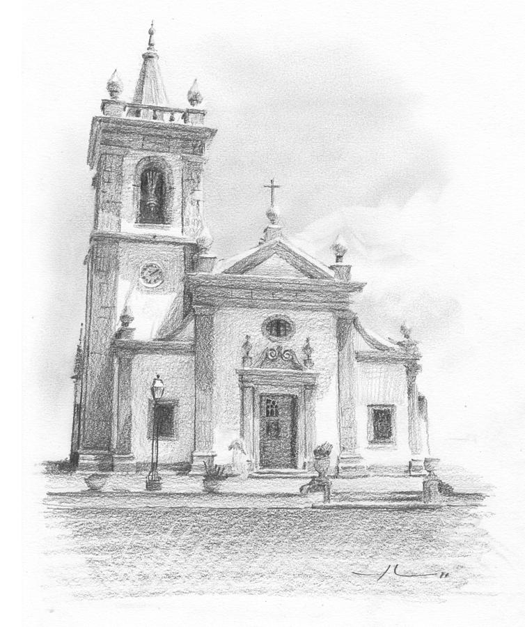 Portugese Church Pencil Portrait Drawing by Mike Theuer