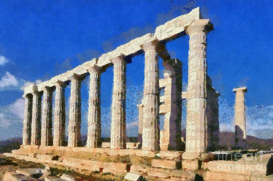 Poseidon Temple Painting by George Atsametakis