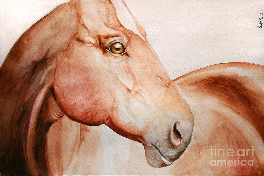 Horse Painting - Posing by Tamer and Cindy Elsharouni