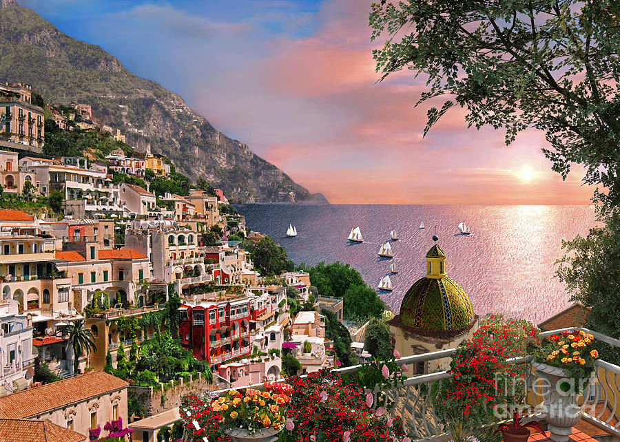 Positano Digital Art - Positano by Dominic Davison
