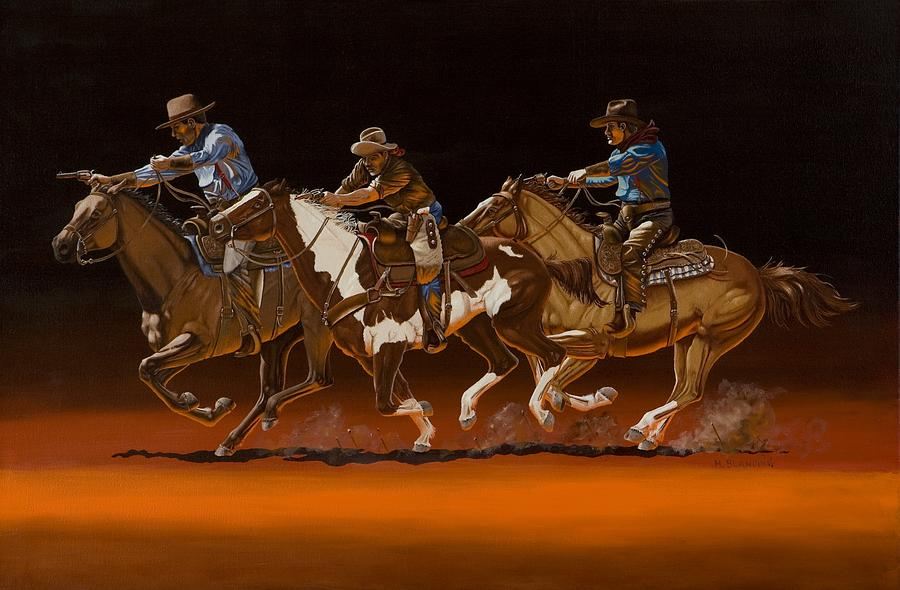 Action Shooting Painting - Posse by Hugh Blanding
