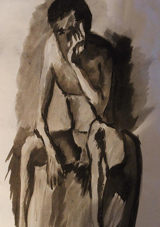 Nude Painting - Post-coital Contemplation by Crystal  Menicola