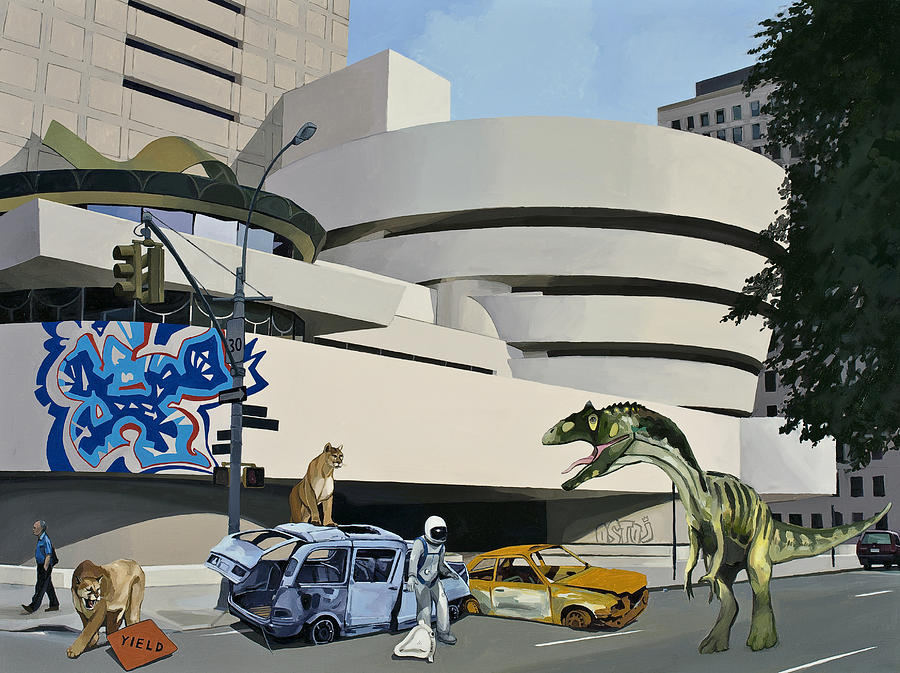 Astronaut Painting - Post Nuclear Guggenheim Visit by Scott Listfield