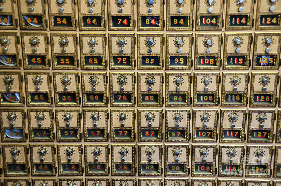 Boxes Photograph - Post Office Combination Lock Boxes by Sue Smith