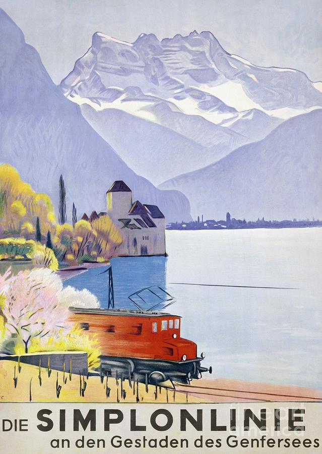 Railway Painting - Poster Advertising Rail Travel Around Lake Geneva by Emil Cardinaux