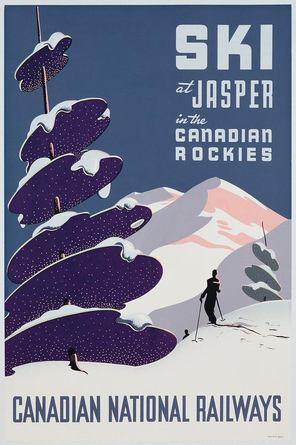 Vintage Painting - Poster Advertising The Canadian Ski Resort Jasper by Canadian School